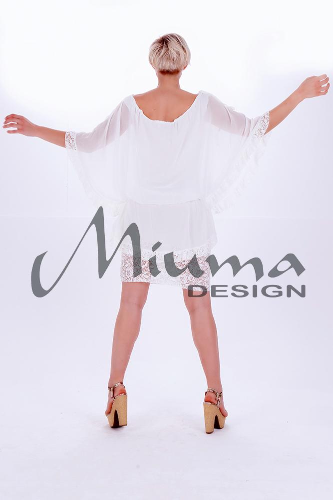 Vestido corto miuma fiorela blanco-e