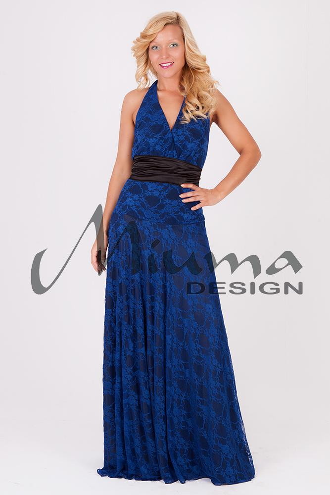 Vestido Largo Katy Raso Negro Encaje Azul