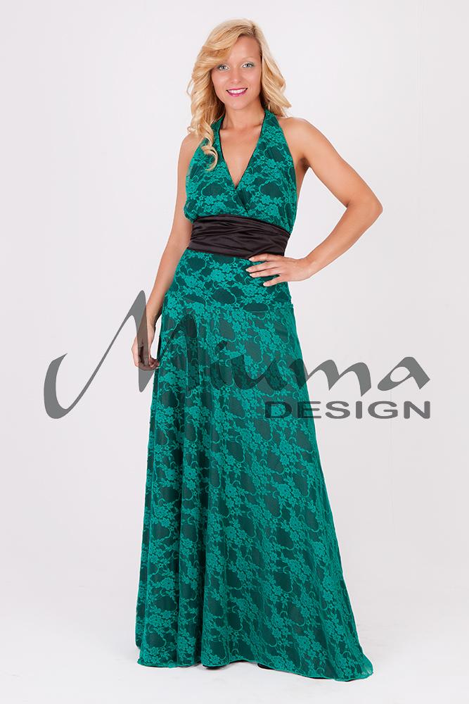 Vestido largo negro y verde